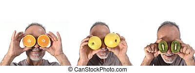 man with fruits in his eyes