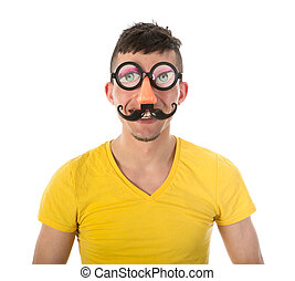 Man with funny carnival mask isolated over white