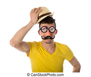 Man with funny mask and hat isolated on white