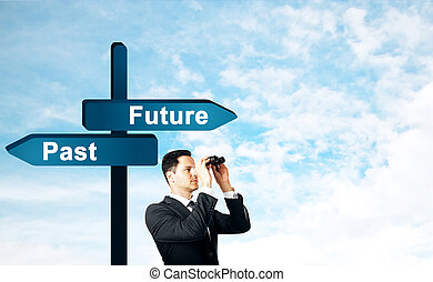 Man with future sign