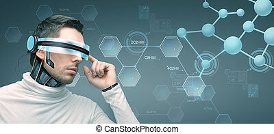 man with futuristic 3d glasses and sensors - people, ...