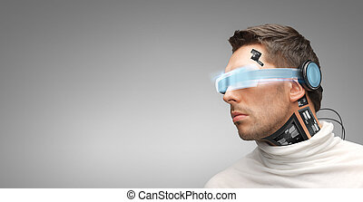 man with futuristic glasses and sensors - people, technology...