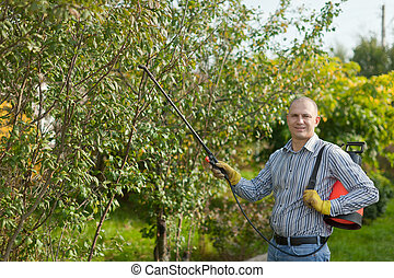 man with garden spray in orchard - working man with garden...