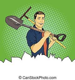Man with garden tools. Vector illustration in retro comic pop art style