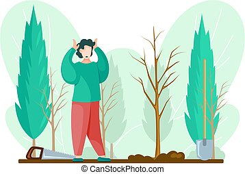 Man with gardening tools standing holding his head with hands. Man buries seedling in ground