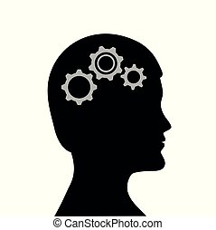 man with gears in the head business symbol teamwork