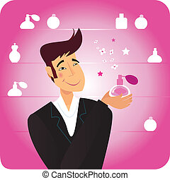 Man with gift - pink perfume - Happy man in shopping store...