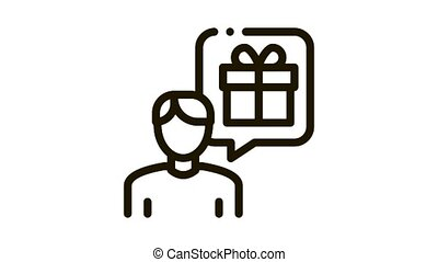 Man with Gift Thought Icon Animation. black Man with Gift Thought animated icon on white background
