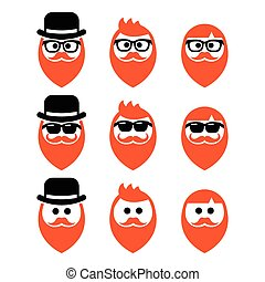 People with beard in glasses, sunglasses and hat vector icons set isolated on white