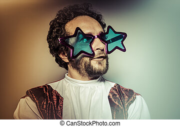 Man with glasses and stupid face huge stars, selfie