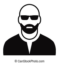Man with glasses avatar simple icon
