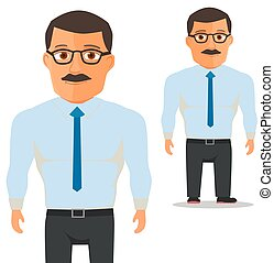 Man with glasses in white shirt with blue Tie Cartoon Character. Vector