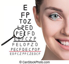 Man with glasses on eyesight test isolated on white ...