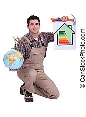 Man with globe and drawing energy rating scale