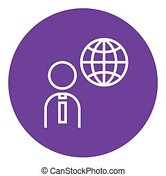 Man with globe line icon.
