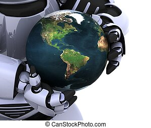 man with globe - 3D Render of a man protecting a globe