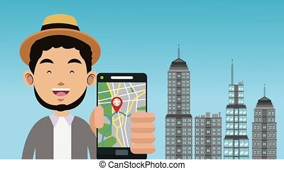 Man with gps HD animation - Young man using smartphone gps...