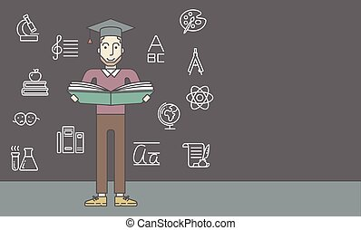 Man with graduation cap and book.