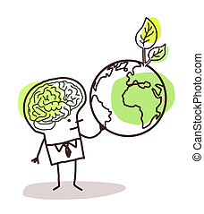 man with green brain and  earth