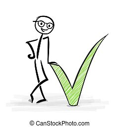 Man with green check mark