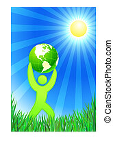 Man with Green Globe on summer background