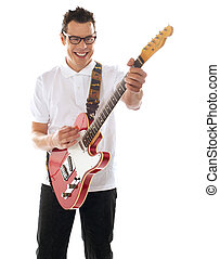 Man with guitar enjoying music