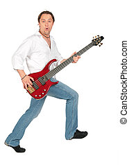 Man with guitar in move