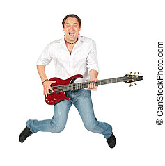 Man with guitar jumps