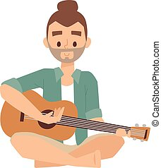 Man with guitar vector illustration.