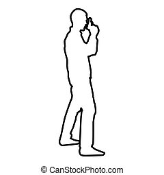 Man with gun Hazard concept icon black color vector illustration flat style image