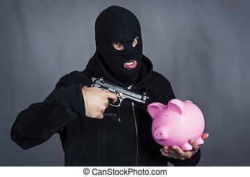 gun on ping piggy bank