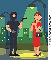 Man with gun robbing young woman. Robber in black clothes and mask. Night street robbery scene. Flat vector design