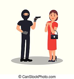 Man with gun robbing young woman. Robber in black clothes and mask. Street robbery. Female in stress situation. Flat vector design