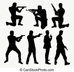 Man with gun silhouettes