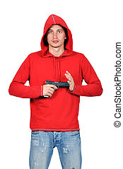 man with gun - robber with gun on a white background