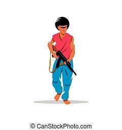 Man with gun. Vector Cartoon Illustration.