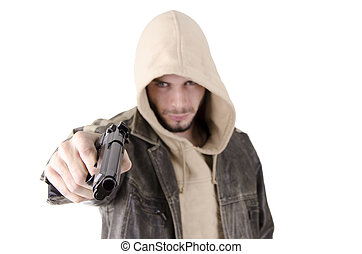 Man with gun - Young man with gun, isolated on white ...
