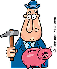Man with hammer and piggy bank - Cartoon illustration of man...