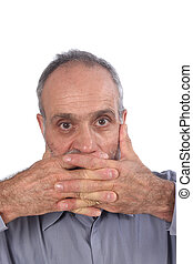 Man with hand in mouth