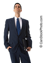 Man with hand in pocket - laptop man in blue suit with...