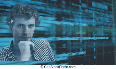 Animation of portrait of man with blue data processing and mathematical equations with grid in the background. Online identity data processing digital composite.