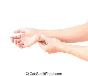 Man with hand pain on white background, health care and medical concept