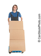Man with hand truck boxes
