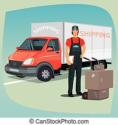 Young man in jumpsuit standing with clipboard. Nearby hand truck trolley with cardboard boxes. On background box truck or lorry. The concept of delivery or shipping