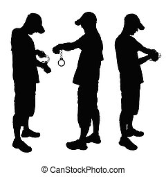 man with handcuff black vector illustration on a white
