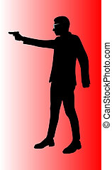 man with handgun vector