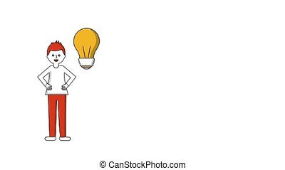 man with hands on the waist talking with bulb idea animation...