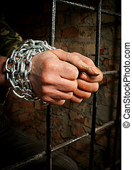 Man with hands tied up with chains behind the bars