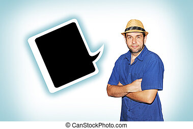 Man with hat and speech bubble