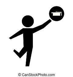 man with hat graduation silhouette isolated icon